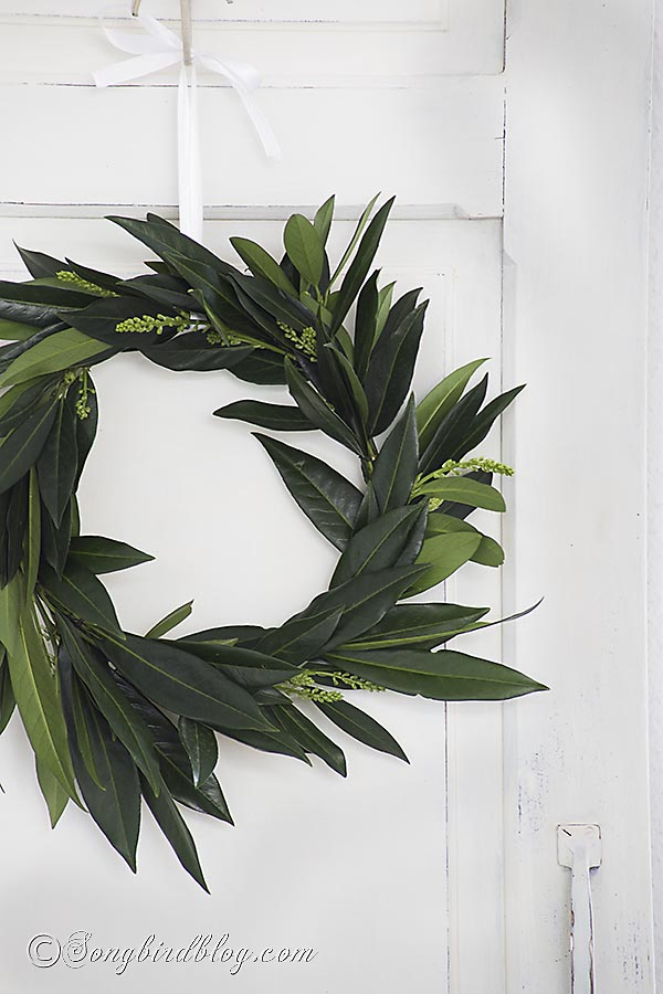 Laurel leaf wreath by Songbird, featured on FunkyJunkInteriors.net