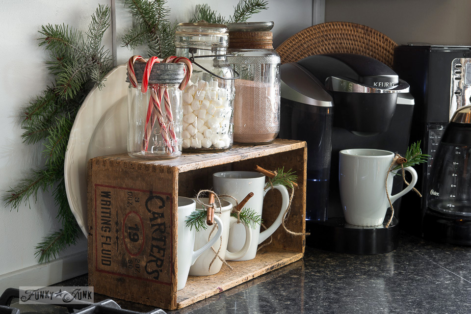 Homemade hot cocoa with a cute compact station with jars and a crate / FunkyJunkInteriors.net