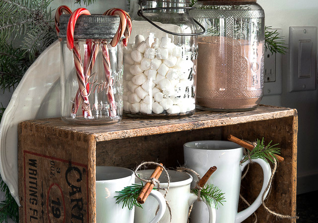 hot cocoa station in a crate