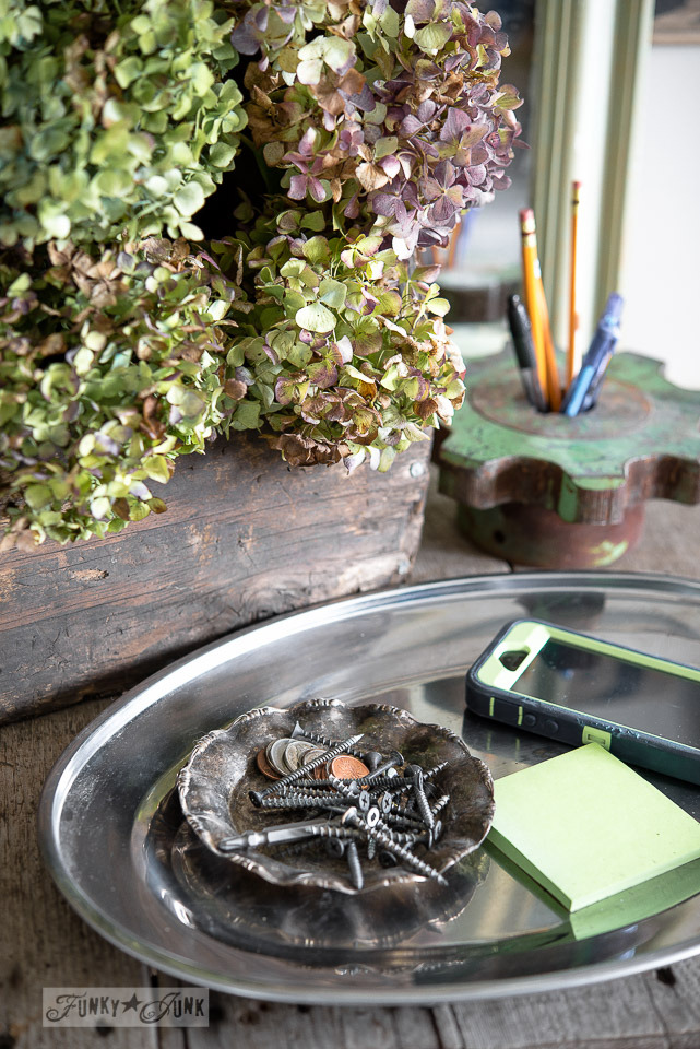 front entry loose change station /A fall home tour with hydrangeas and junk via FunkyJunkInteriors.net
