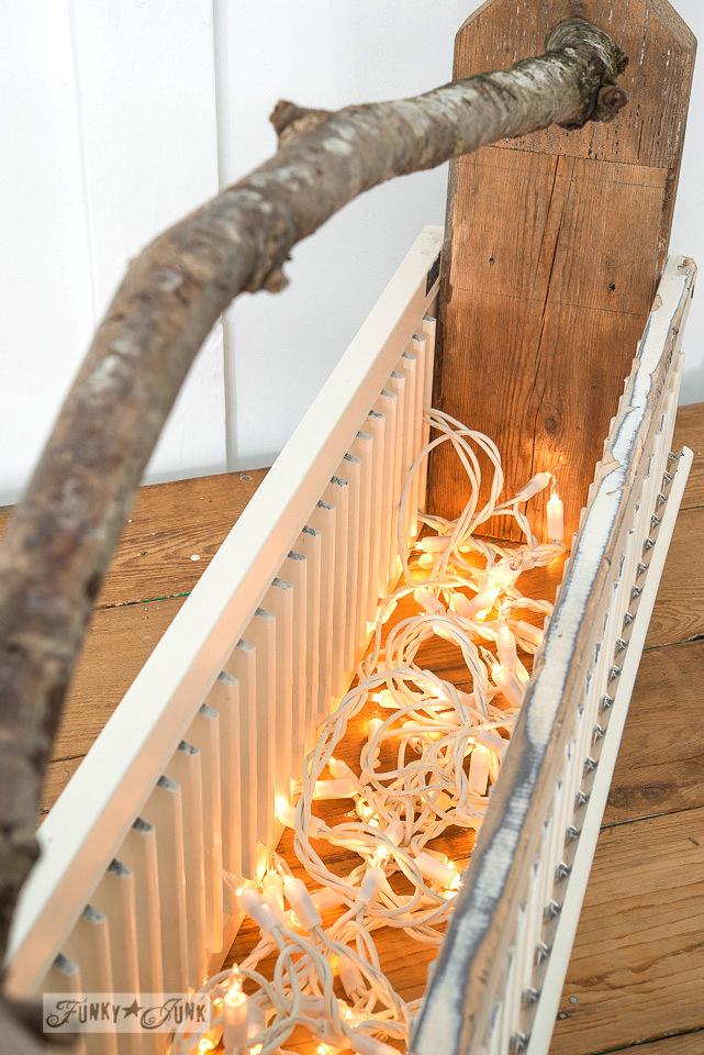 Illuminated Christmas shutter toolbox centrepiece on FunkyJunkInteriors.net