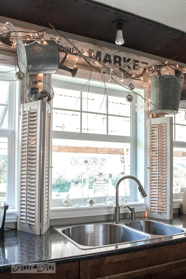 Kitchen Christmas winter branch valance on FunkyJunkInteriors.net