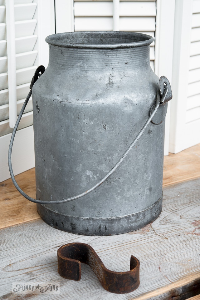 Galvanized bucket / Conditioning rusty metal / how to prep junky pieces on FunkyJunkInteriors.net