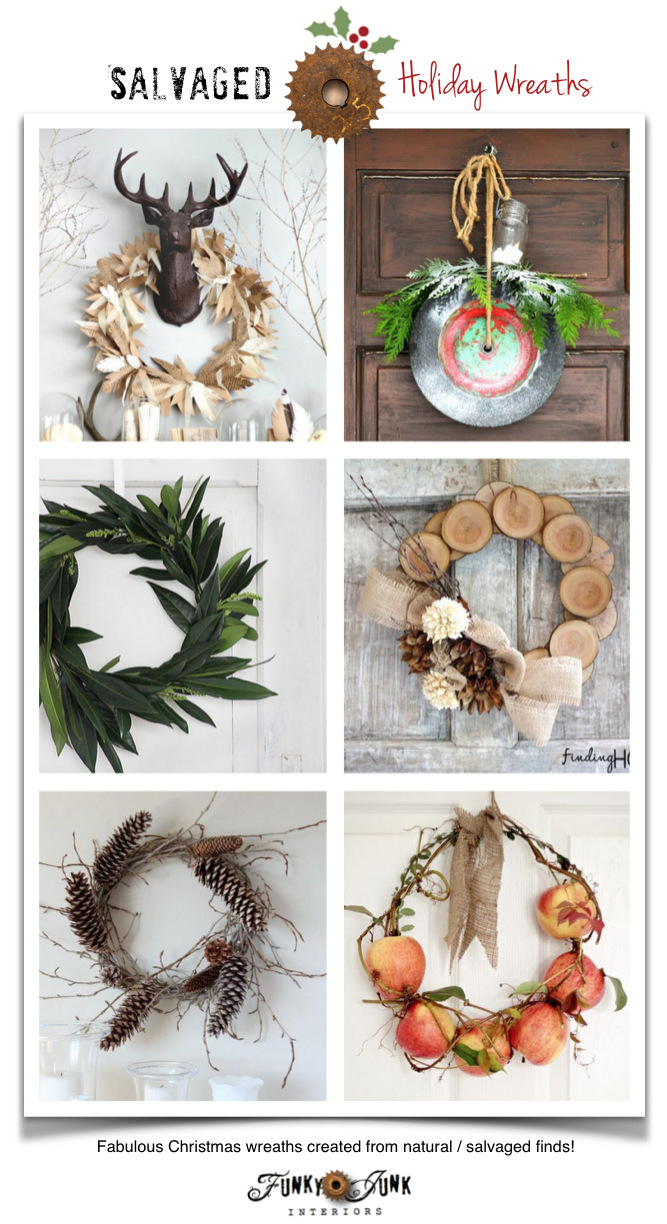 Salvaged Christmas Wreaths! From wood, paper, fruit, wheels and more! on FunkyJunkInteriors.net