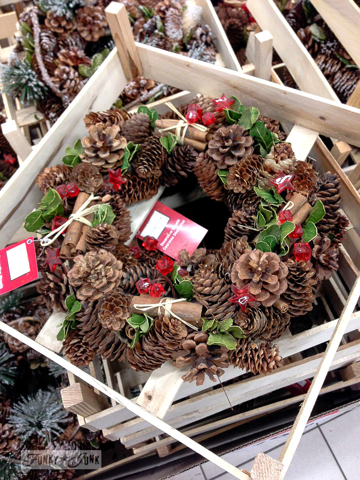 Pinecone wreaths in a crate / part of How I mentally file inspiration via FunkyJunkInteriors.net