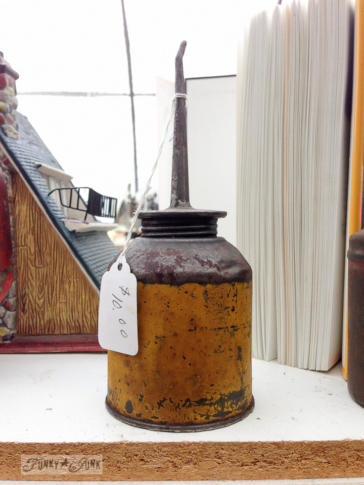 Antique oil can / part of How I mentally file inspiration via FunkyJunkInteriors.net