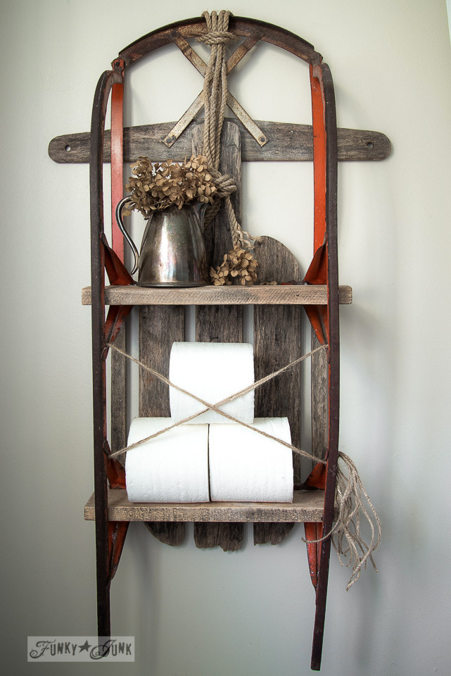 Sleigh shelf waxed with  with Miss Mustard Seed Antique Wax / FunkyJunkInteriors.net