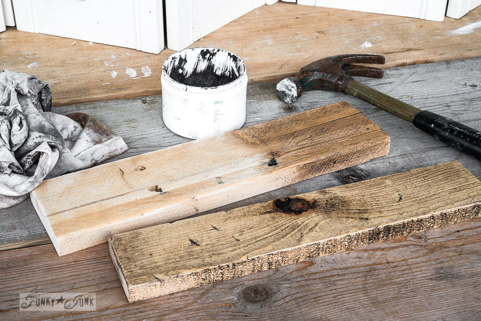 Waxing the pallet wood shelves / Snow sleigh shelf on FunkyJunkInteriors.net
