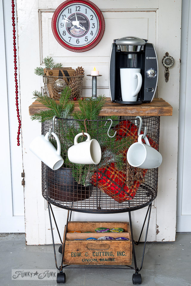 Vintage cart hot chocolate station with jars and a crate / FunkyJunkInteriors.net
