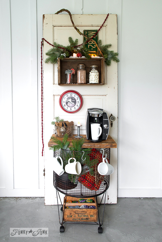 Learn how to turn a vintage cart into a coffee or hot cocoa station that also stores potatoes, etc. Maximize kitchen space with this easy project! #hotcocoa #hotcocoastation #coffeestation #coffee #funkyjunkinteriors #oldsignstencils #stencils