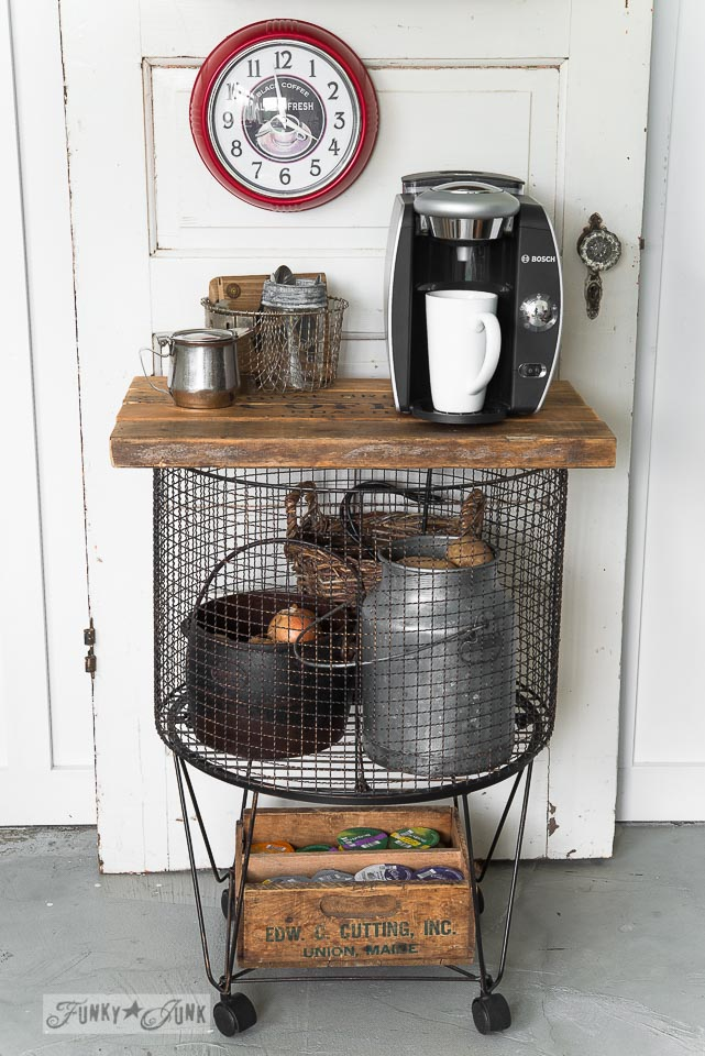 Learn how to make this vintage cart coffee station / potato bin / beverage station for Christmas or everyday!