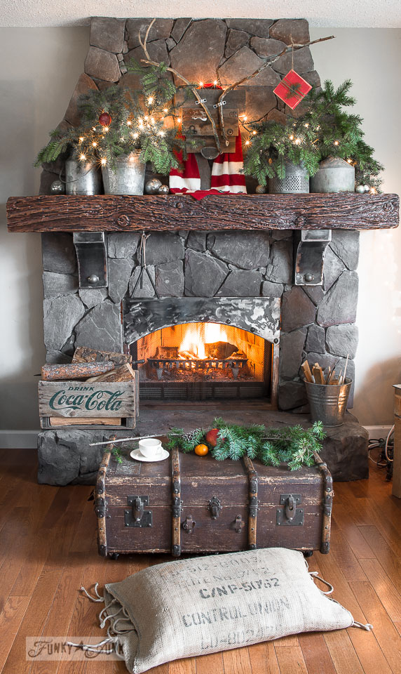 Reclaimed deer head and forest Christmas mantel / funkyjunkinteriors.net