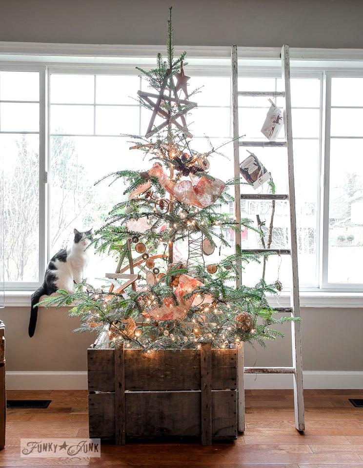 a twiggy little christmas tree with a story on funkyjunkinteriorsnet - Christmas Ladder Decor