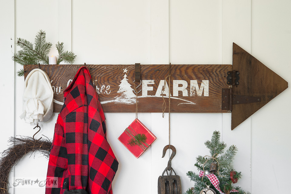You Cut Tree Farm stencils /  Make this rustic Christmas arrow sign with stencils / FunkyJunkInteriors.net