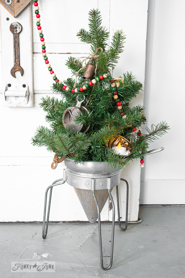 (without snow) / Faux to real mini Christmas tree in a strainer with wooden presents, on FunkyJunkInteriors.net