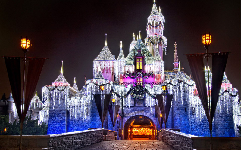 Disney at night during Christmas