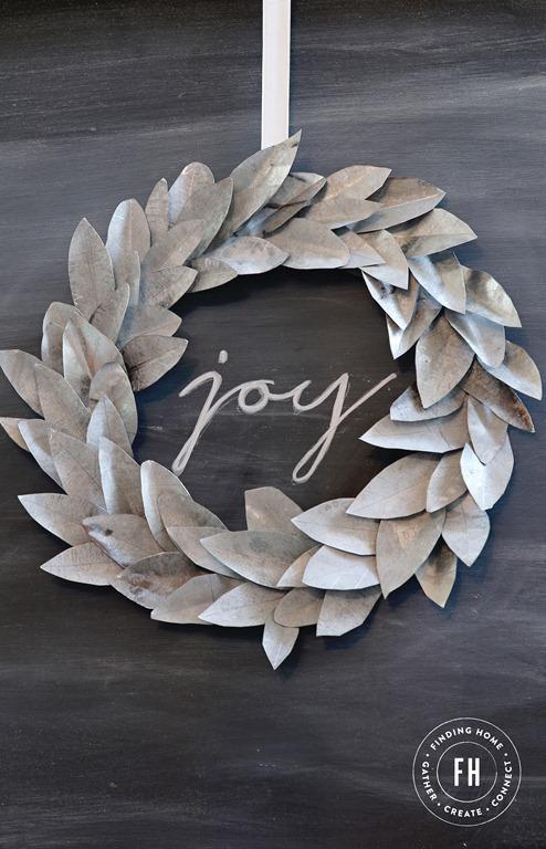 Modern Galvanized Christmas Wreath - Finding Home