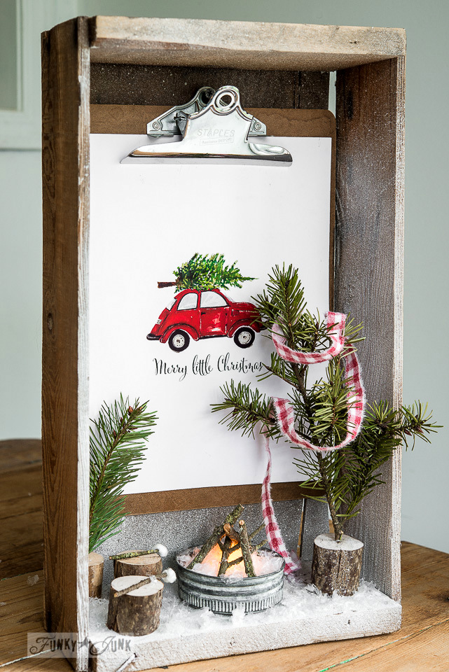 Crate shadow box Christmas snow scene with flickering firepit with a picture by Craftberry Bush / on FunkyJunkInteriors.net