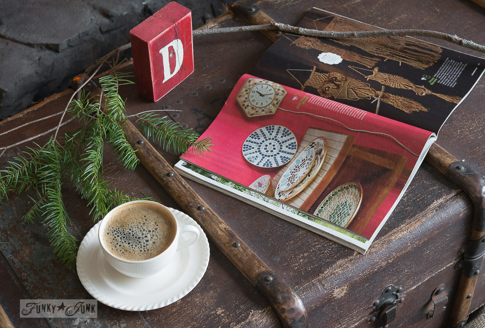 Christmas decorations and a frothy coffee on an old trunk / FunkyJunkInteriors.net