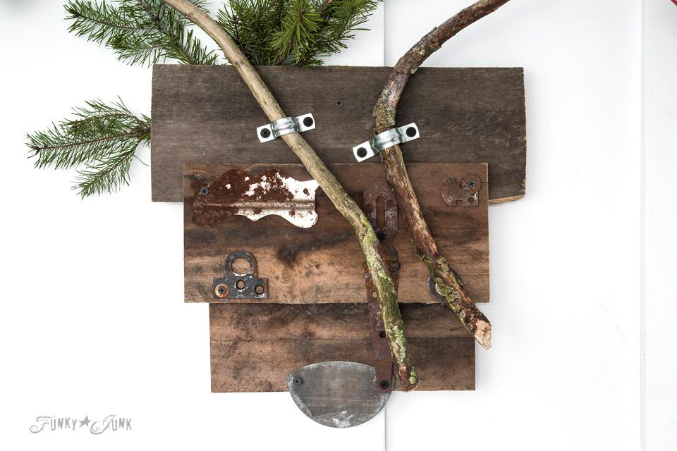 Reclaimed wood deer head with branch antlers on FunkyJunkInteriors.net