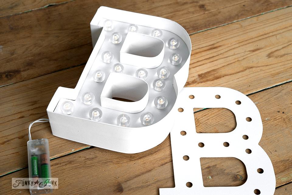 BE / Marquee Love illuminated letters on FunkyJunkInteriors.net