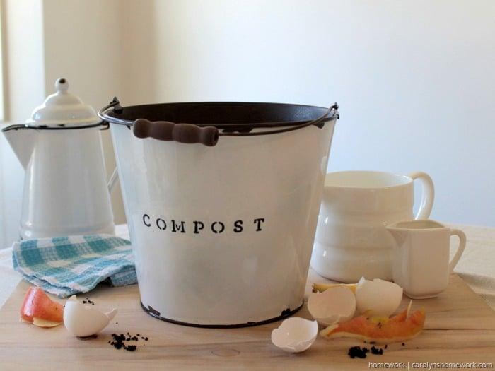 DIY Faux Enamel Ware Compost Bin / Homework