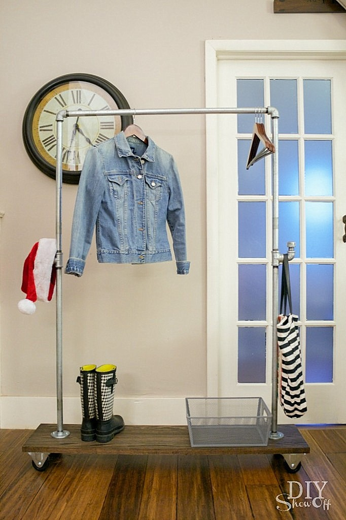 DIY mobile pipe coat rack by DIY Show Off