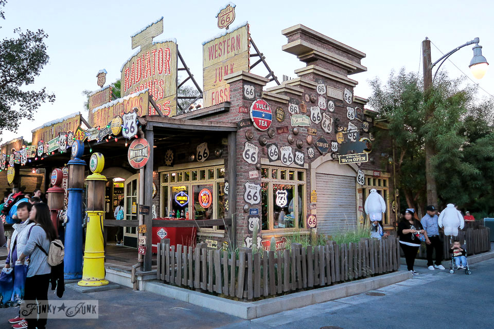 Old signs on store / Merry Cars Christmas at Disneyland via FunkyJunkInteriors.net