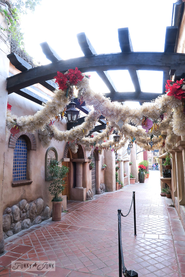 Christmas decorating at Disneyland with offwhite garland   / FunkyJunkInteriors.net