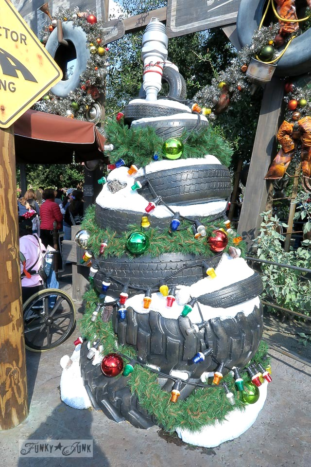 Tire Christmas tree / Merry Cars Christmas at Disneyland via FunkyJunkInteriors.net