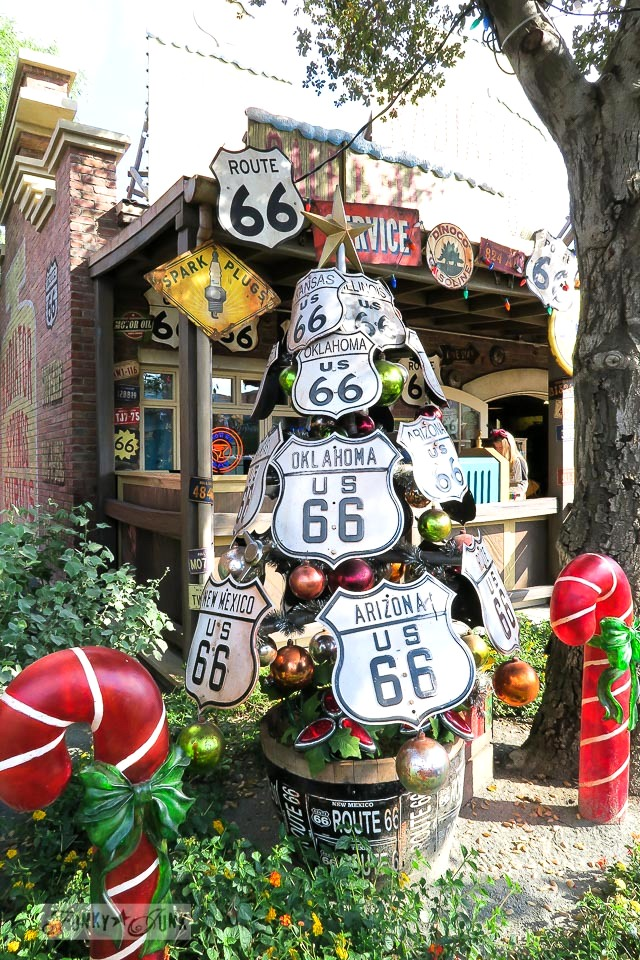 Route 66 Christmas tree / Merry Cars Christmas at Disneyland via FunkyJunkInteriors.net