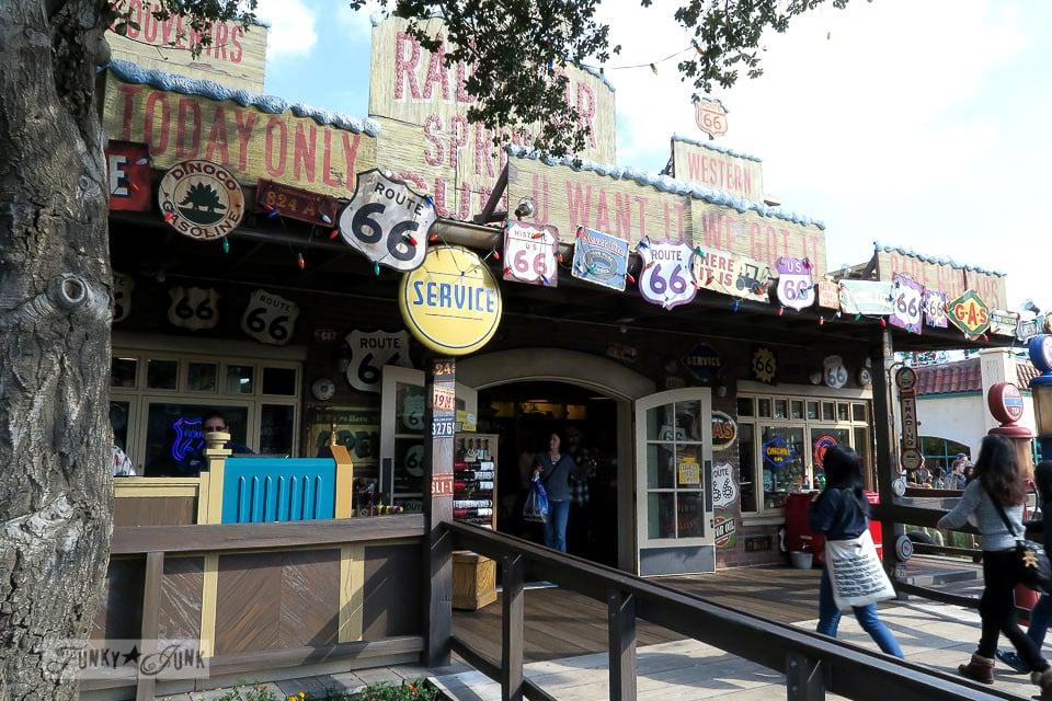 Radiator Springs / Merry Cars Christmas at Disneyland via FunkyJunkInteriors.net