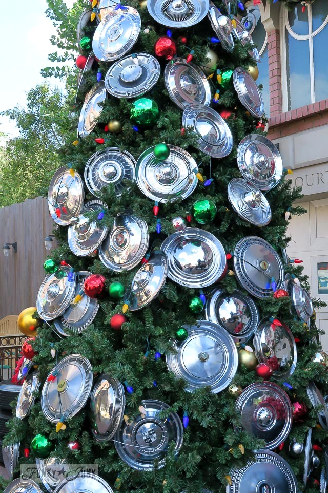 Hub cap Christmas tree at Disneyland via FunkyJunkInteriors.net