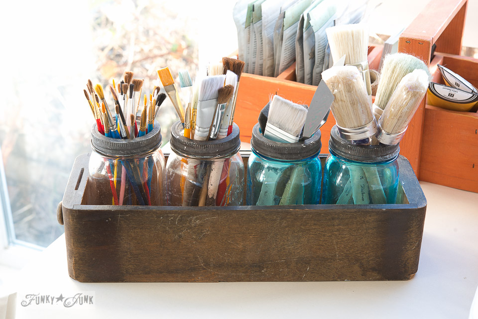 Mason jar paint brush storage on FunkyJunkInteriors.net
