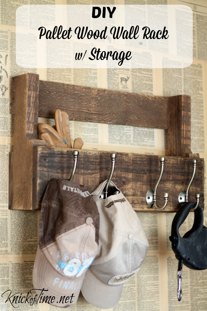 DIY pallet wood wall rack for storage by Knick of Time featured on FunkyJunkInteriors.net