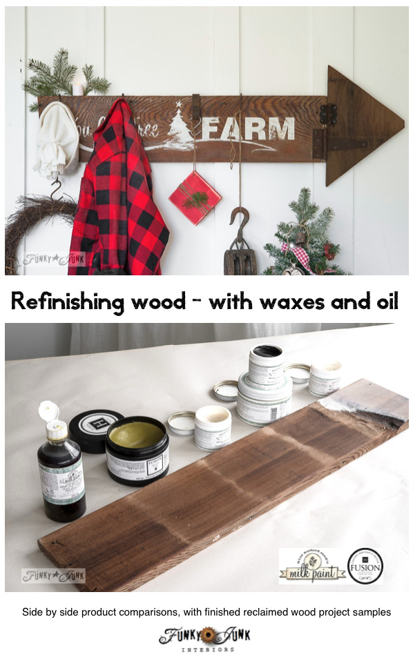 Refinishing wood with waxes and hemp oil - a side by side comparison of products, complete with project samples, by FunkyJunkInteriors.net