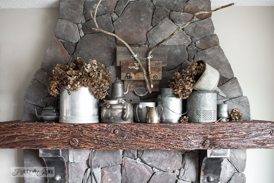 Metal filled winter fireplace mantel / FunkyJunkInteriors.net