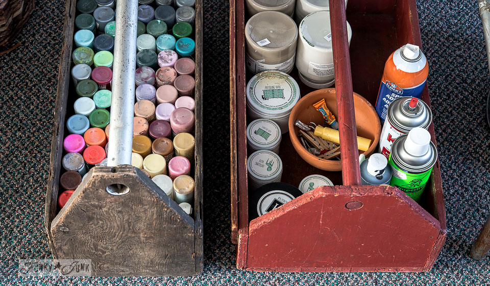 toolbox paint storage / Funky Junk's 2015 Summer Home Junk Tour / FunkyJunkInteriors.net