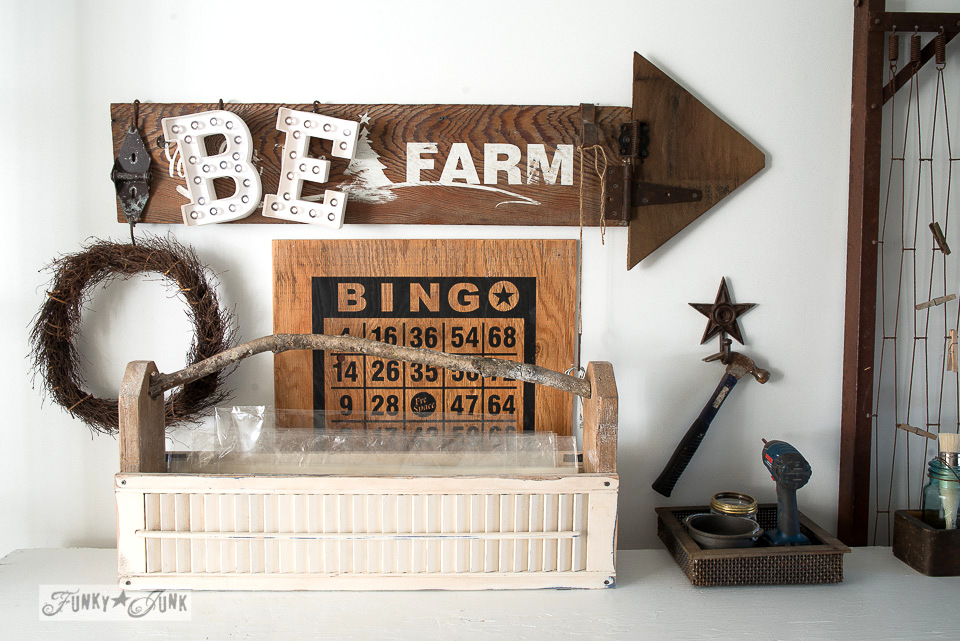 old sign wall display / Funky Junk's 2015 Summer Home Junk Tour / FunkyJunkInteriors.net