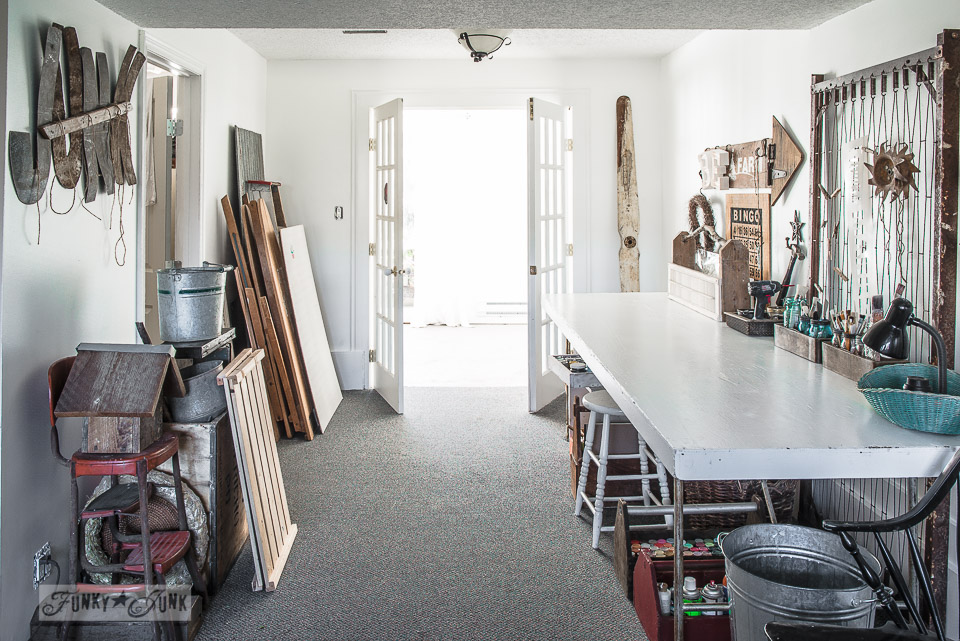 Paint studio with white work table / Funky Junk's 2015 Summer Home Junk Tour / FunkyJunkInteriors.net