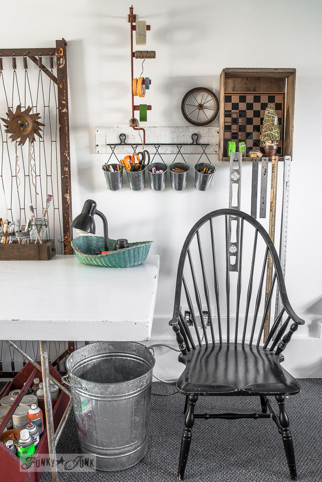 Tips on designing an old sign themed paint studio on FunkyJunkInteriors.net