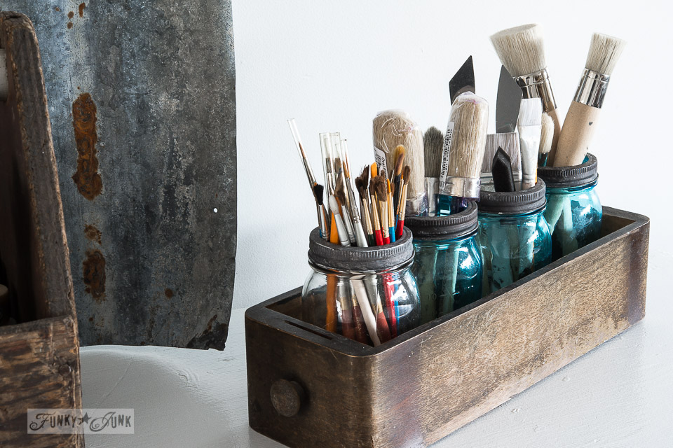 Paint brush mason jar organizing / New painting station for Heap of Change challenge, on FunkyJunkInteriors.net