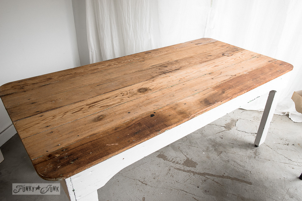 Farm table before / FunkyJunkInteriors.net - Refinishing Wood With Wax And Hemp Oil - A ComparisonFunky Junk