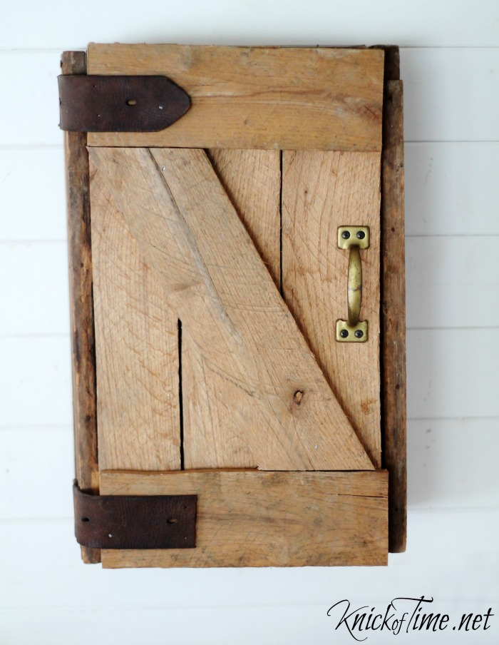 Pallet wood barn door cabinet by Knick of Time, featured on Funky Junk Interiors