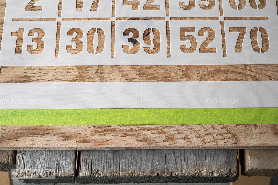 alignment marks on stencil / How to 2 colour stencil featuring a Bingo Board key organizer / Funky Junk's BINGO old sign stencil