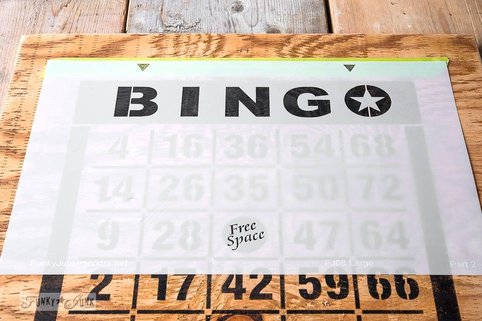 Adding 2nd colour / How to 2 colour stencil featuring a Bingo Board key organizer / Funky Junk's BINGO old sign stencil