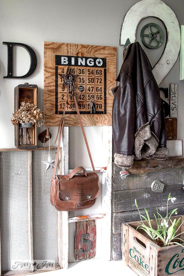 How to 2 colour stencil featuring a Bingo Board key organizer / Funky Junk's BINGO old sign stencil