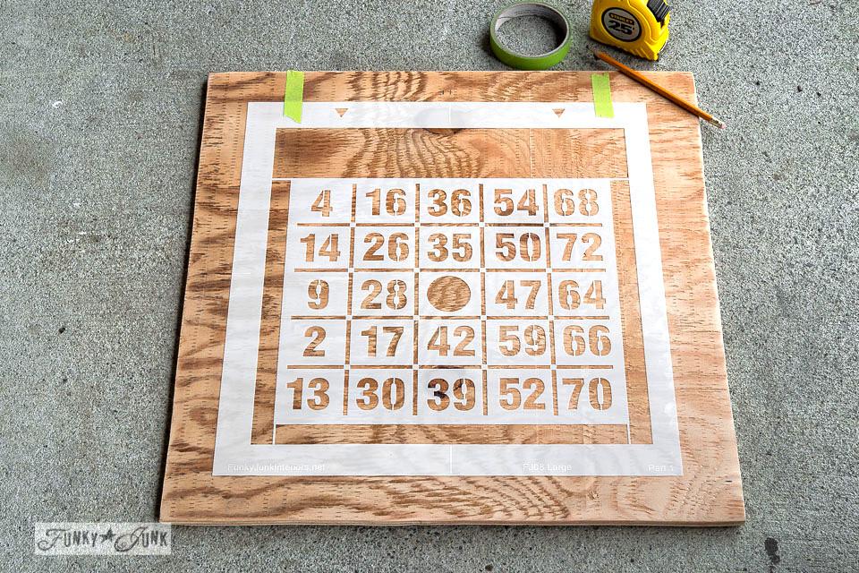 centring a stencil / How to 2 colour stencil featuring a Bingo Board key organizer / Funky Junk's BINGO old sign stencil