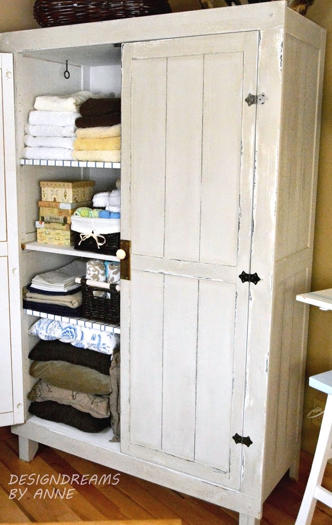 IKEA HACK WARDROBE TO VINTAGE LINEN CLOSET by Design Dreams by Anne on Funky Junk Interiors