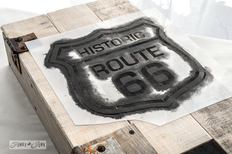 Stencilling on design / Historic Route 66 pallet wood storage cabinet / Funky Junk's Old Sign Stencils collection  / FunkyJunkInteriors.net